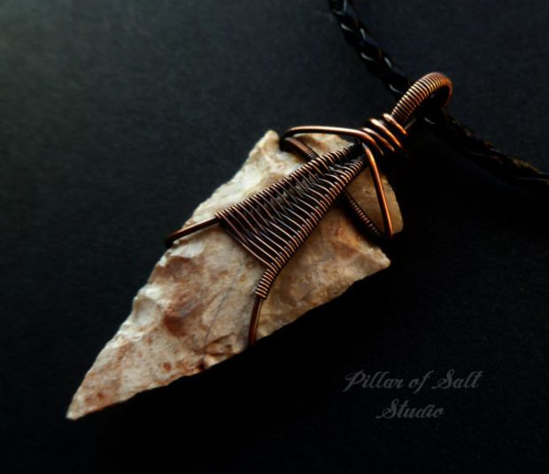 Arrowhead necklace, Wire wrapped pendant, Wire Wrapped jewelry handmade, rustic…