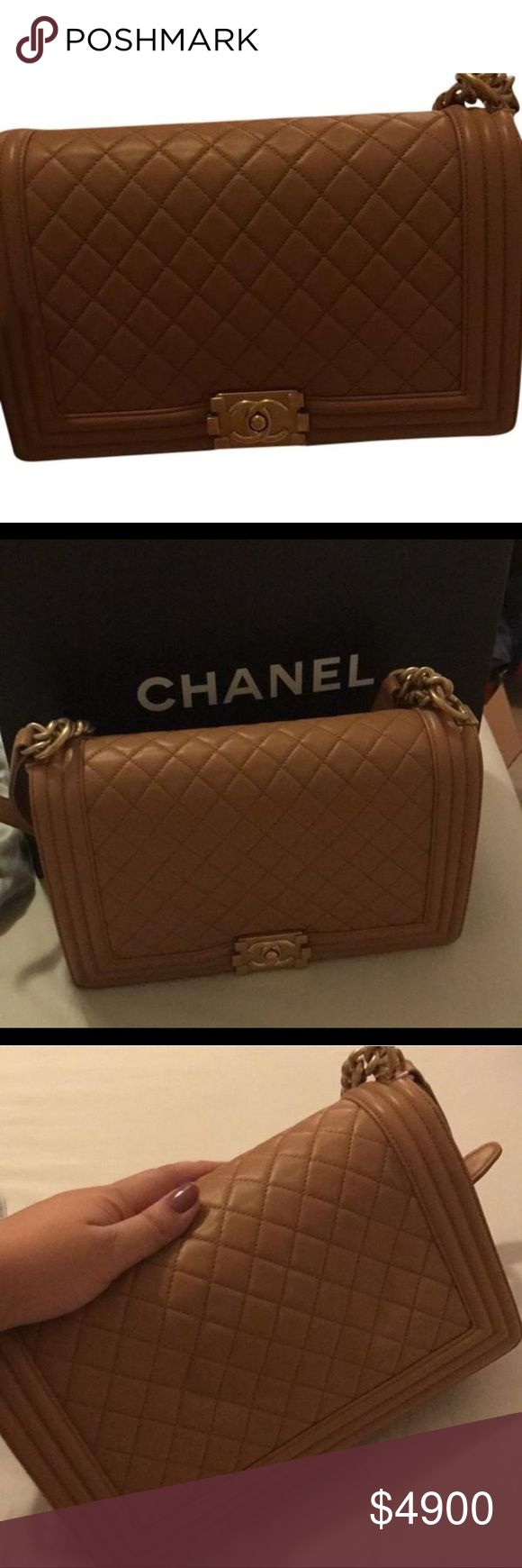 """Chanel Le Boy Camel Cross Body Bag ❗️❗️ On Sale ❗️❗️ Chanel Le Boy Camel Cross Body Bag Condition: Brand New Size 11""""L x 3""""H x 7""""W 100% authentic or your money back guaranteed. Cheaper out of posh due to high fees, cheaper through PayPal email me at luxurydesigners12 yahoo com CHANEL Bags Crossbody Bags"""