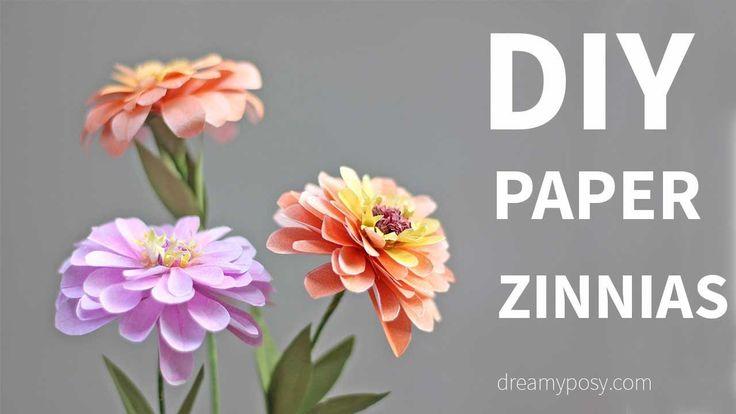 DIY Zinnias flower from printer paper, FREE template, SO SIMPLE