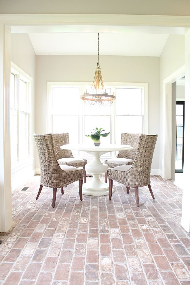 This Farmhouse Breakfast Room Brick Floor Would Look So Much Bettering Using Our Topical Acrylic Co Dining Room Floor Dining Room Remodel Rustic Kitchen Design