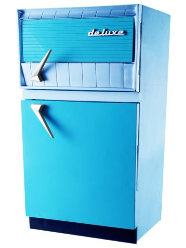 vintage refrigerator ( retro kitchen / fridge / appliance / space age / mid century / 50's )