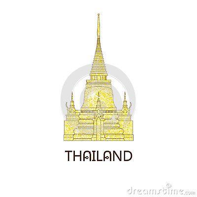 Buddhist wat temple in Bangkok Thailand on the golden glitter travel landmark vector illustration