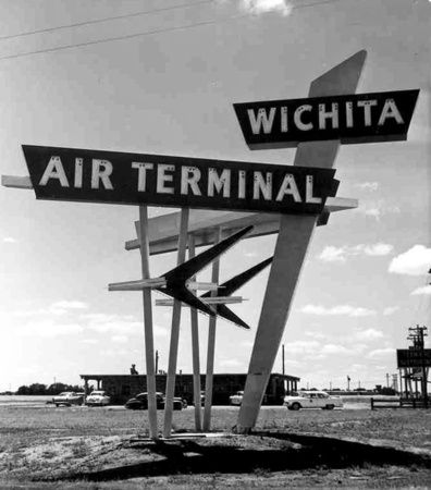 Mid Continent Airport, formerly the Wichita Municipal Airport, opened 60 years ago in April, 1954. Wichita Air Terminal googie sign. Wichita, KS.