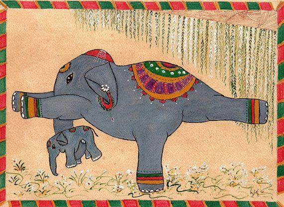 Yoga Art  Elephant Painting  in Warrior III by DharmaKarmaArts, $61.11