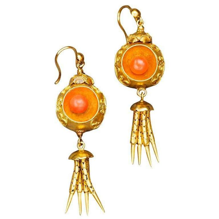 Victorian Coral Gold Chandelier Earrings, circa 1870 1