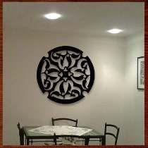 Quadro Decoração Escultura Parede Vazada Mdf Mandala 80c
