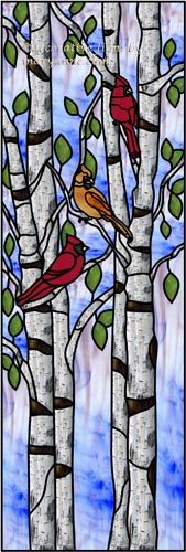 Cardinals in Birch Trees Decorative Window Film