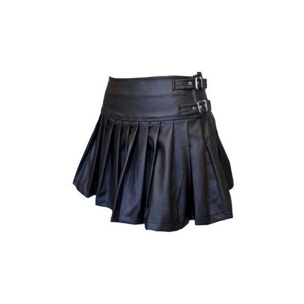 Dark Star Pleated PVC Skirt (Zip PVC strap/buckle fastening)... ($11) ❤ liked on Polyvore featuring skirts, bottoms, short skirts, saias, zip skirt, zipper skirt, knee length pleated skirt, pleated skirt and pvc skirt