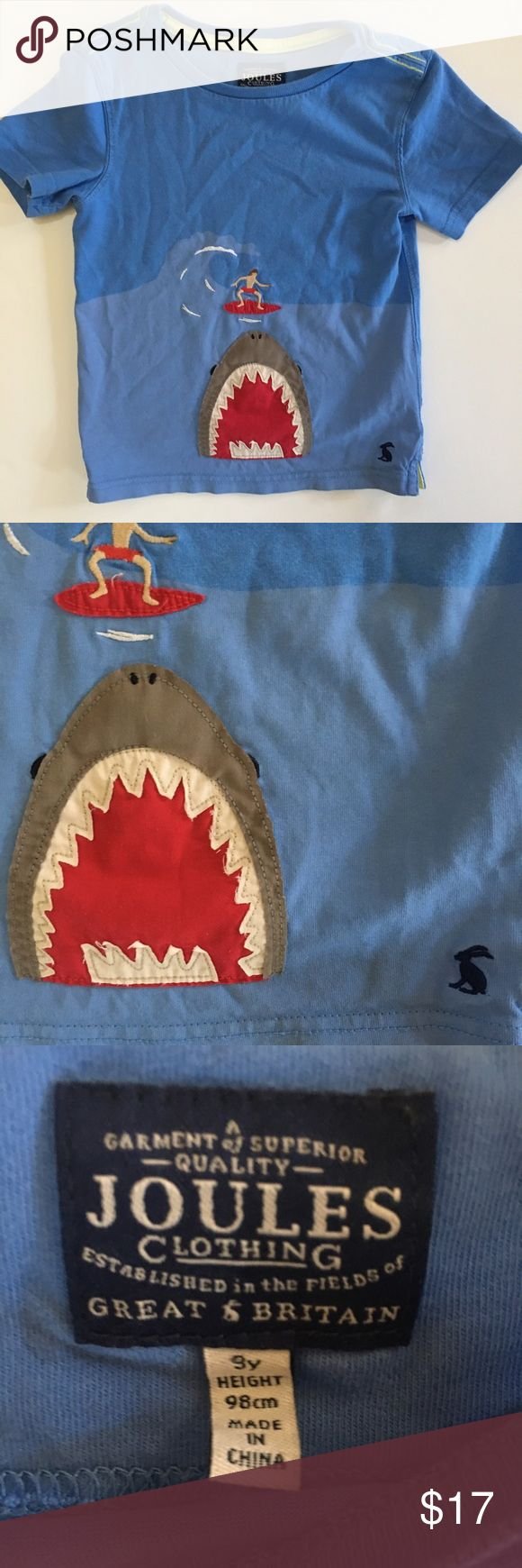 Joules shark tee Super cool applique tee vguc slight slight ww it's pretty minimal cross posted Size 9 Joules Shirts & Tops Tees - Short Sleeve