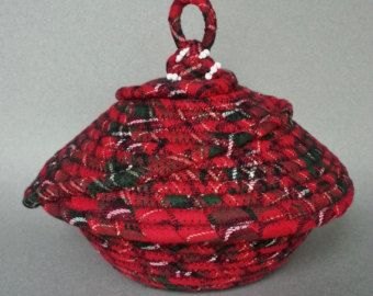 Southwestern Basket linen basket coiled fabric by JKTextileArts