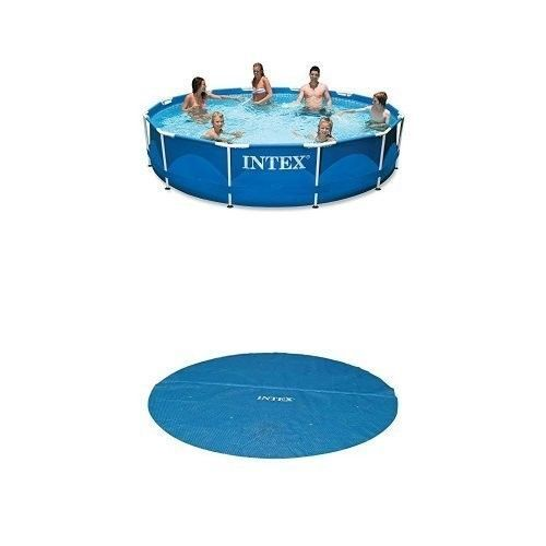 Metal-Frame-large-Pool-Set-Cover-Bundle-Intex-12ft-X-30in-For-Family-Garden-New