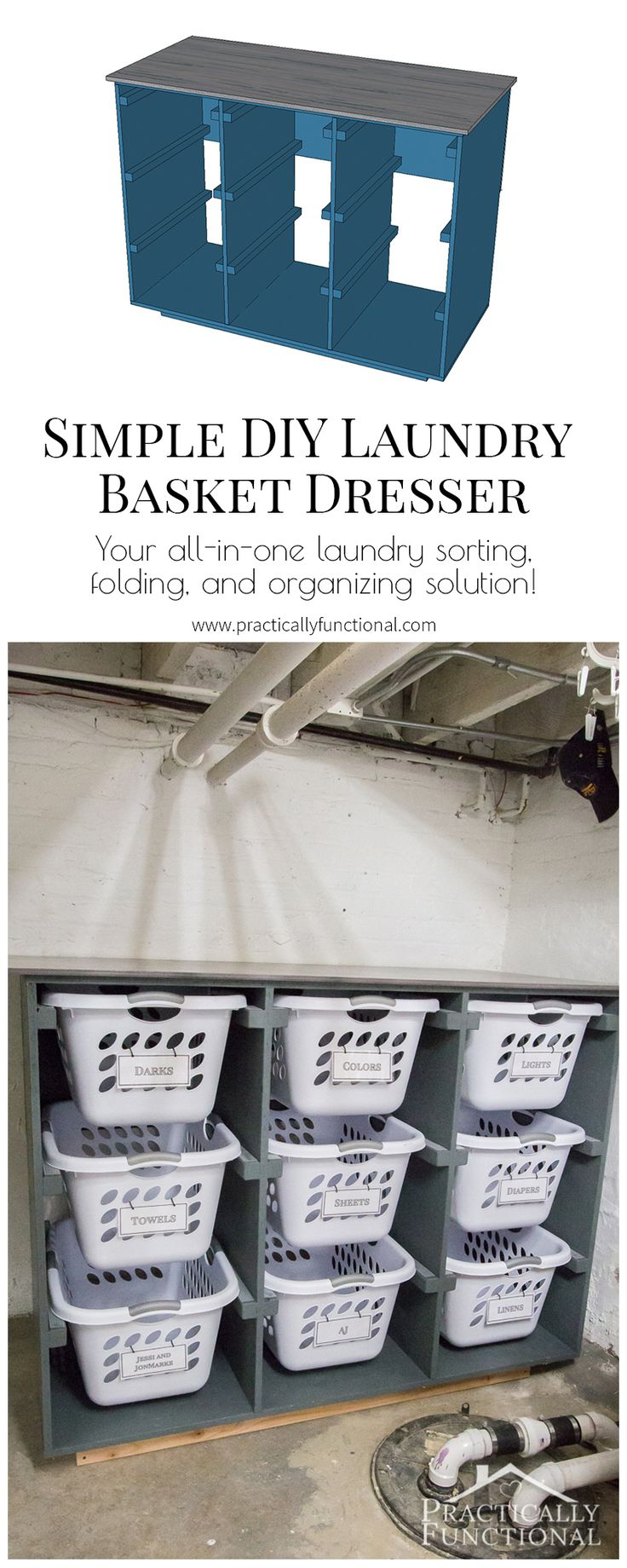 best  folding laundry basket ideas on pinterest  collapsible  - great idea to get your laundry room organized make a simple laundry basketdresser to