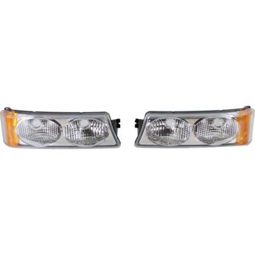 2002-2006 Chevrolet Avalanche Clear Signal Light, Set, Chrome, Twin Eyes, Type 2