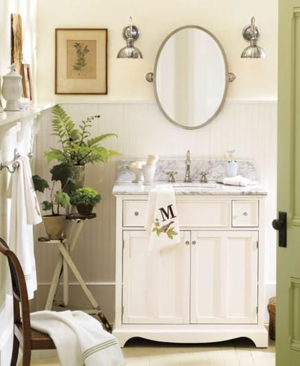 Pottery barn room decorating ideas walls benjamin moore cream silk on top and snowfall white for Pottery barn bathroom paint colors