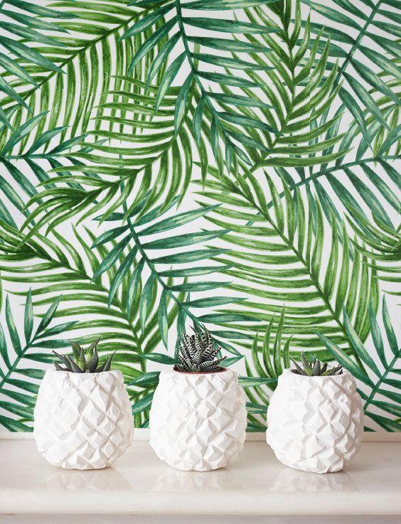 Selbstklebende Tapete, Aquarell Leaf Muster Tapete, abnehmbare Tapete Dschungel Wanddekoration, Jungle Wallcovering - JW035