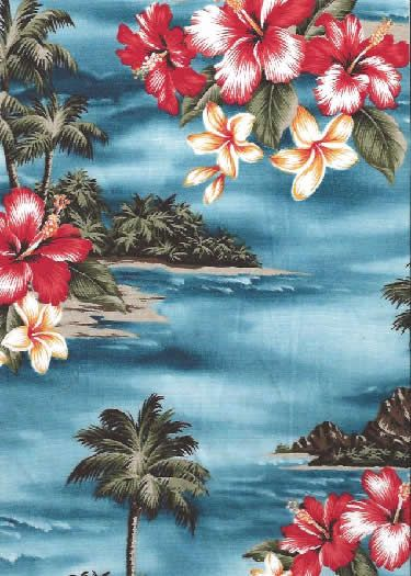 20mauna lepa Tropical Scenic Print; Hibiscus Flowers, palm trees & ocean views on a Hawaiian cotton broadcloth fabric.