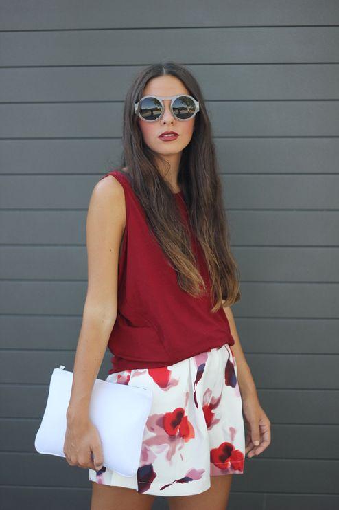 Sheinside White Multi Poppies Culotte Shorts