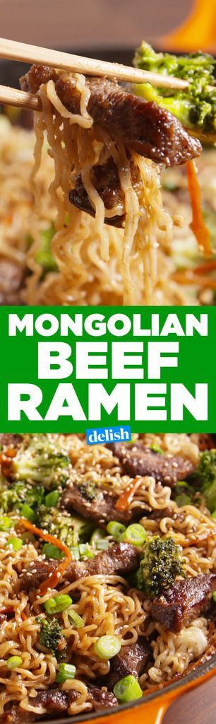 Mongolian Beef with Ramen (Use healthier Ramen noodles from the Chinese / Asian isle, NOT the cheap fake soup stuff ;) )