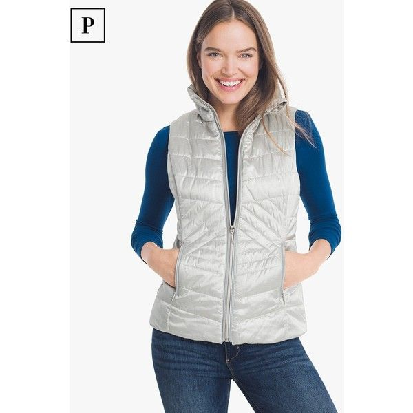 White House Black Market Petite Quilted Vest (950 MXN) ❤ liked on Polyvore featuring outerwear, vests, petite, layered vest, quilted zip vest, white vest, petite vests and metallic vest