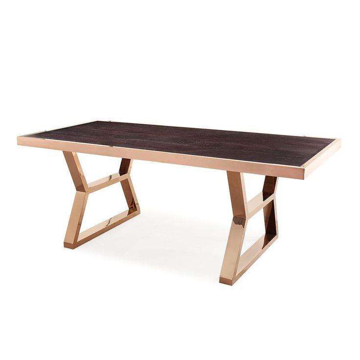 TOV Furniture Modern Tula Wood Gold Metal Dining Table TOV-D3753