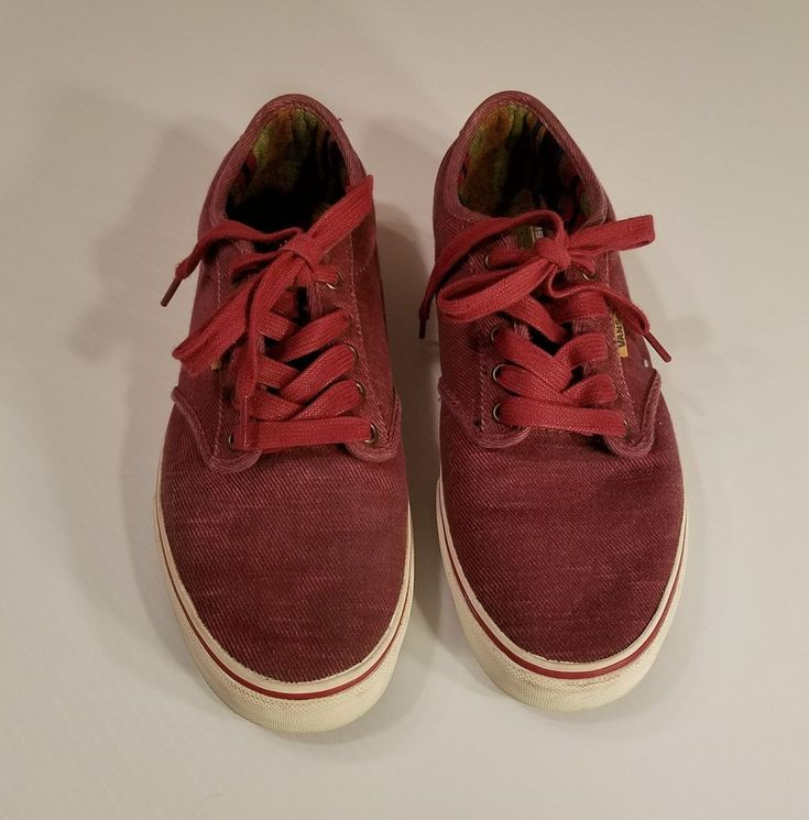 VANS Atwood Deluxe Ultracush Washed Twill Red /Marshmallow Shoes Sz 10M