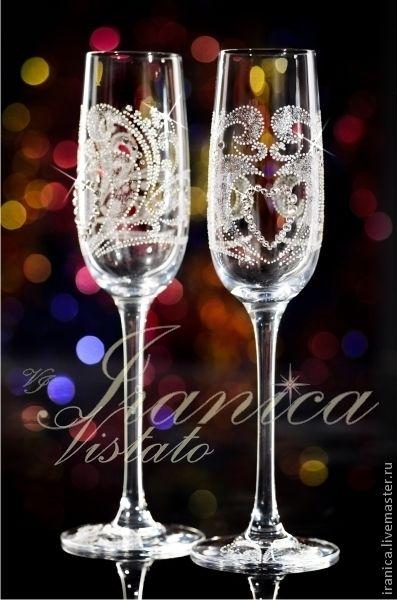 """Купить Свадебные бокалы """"Ориенто"""" - свадебные бокалы, vip подарок, подарок на свадьбу, свадебные фужеры"""