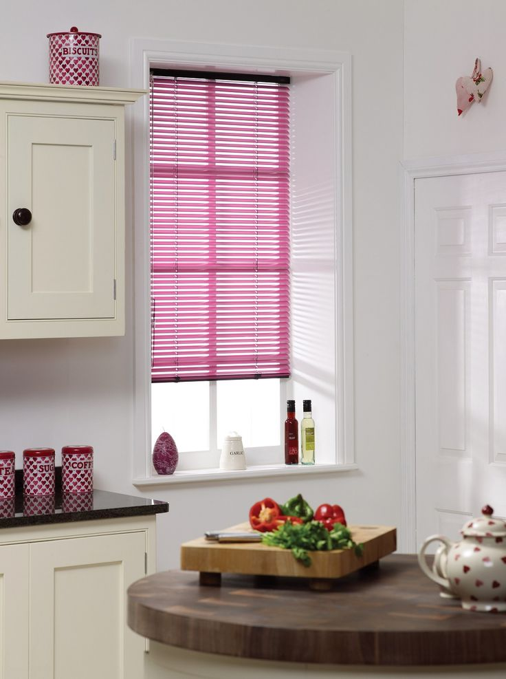 Apollo Blinds pink venetian blinds. Pink colour inspiration for the kitchen. Kitchen decor ideas. Kitchen blinds. Pink blinds. Venetian blinds.