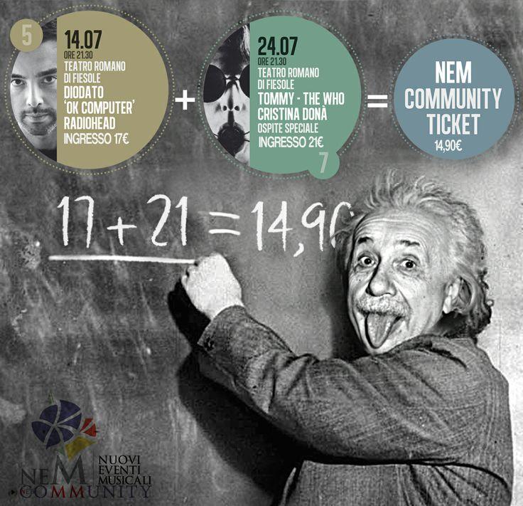 Nella Community NEM la matematica è un'opinione! con 14,90€ entri a tutta la stagione di concerti. info www.nuovieventimusicali.it/eventi/scheda/COMMUNITY+TICKET
