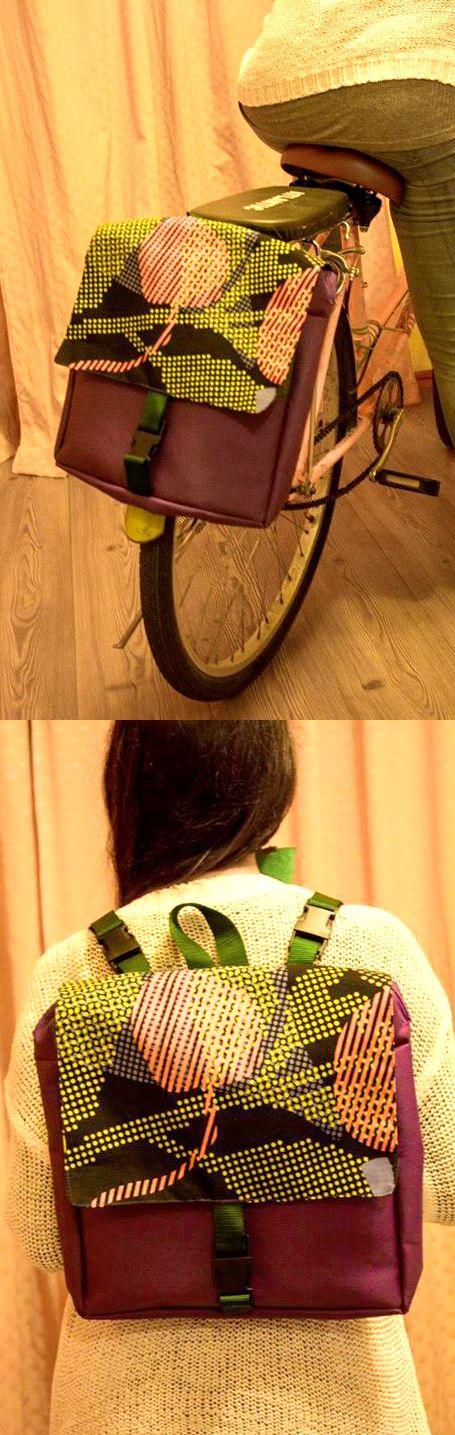 Mochila de lona adaptable a bicicleta.