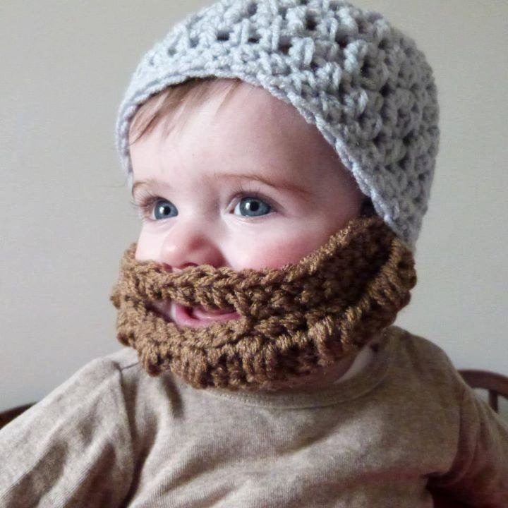 Child Knit Hat With Beard Pattern Zombies
