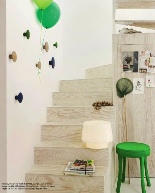 plywood stair and pop of green...