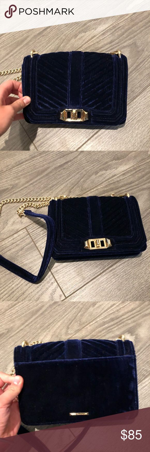 Rebecca Minkoff small chevron quilted crossbody Small love crossbody in blue velvet. Used ONCE! Excellent condition. Navy blue velvet with gold hardware. Purchased at Nordstrom. Rebecca Minkoff Bags Crossbody Bags