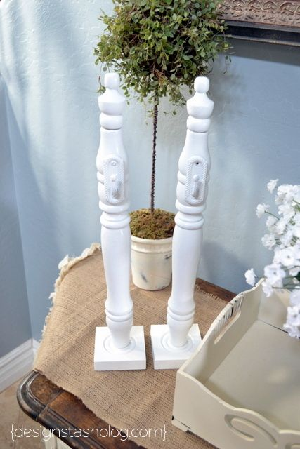 DIY Wreath Holder (Old Chair Leg or Wooden Candle Stick Holder - hook and a wood base..Done!)