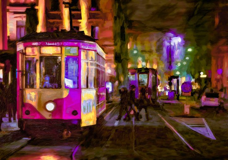 Midnight Tram - My first visual language, so to speak, was photography and it still remains a powerful influence for me. When I began to do and learn more about digital painting I found it difficult to separate myself from the ingrained tenets of photography – sharpness and detail. Eventually, I reached a greater degree of comfort with an image where selective parts bore more detail and others less so. I think it's this uninhibited freedom that I love about impressionism. This painting is…