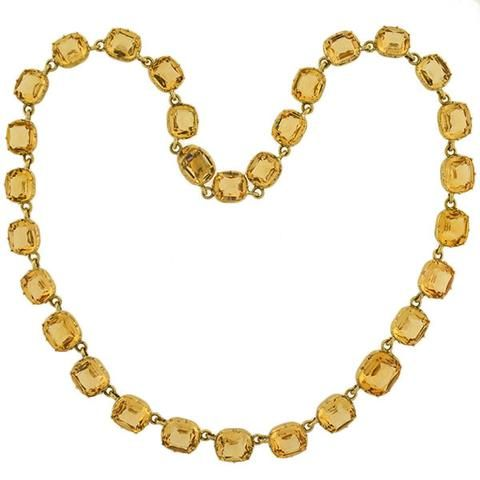 "Victorian Gold-Filled ""Champagne"" French Paste Riviera Necklace – A. Brandt   Son"