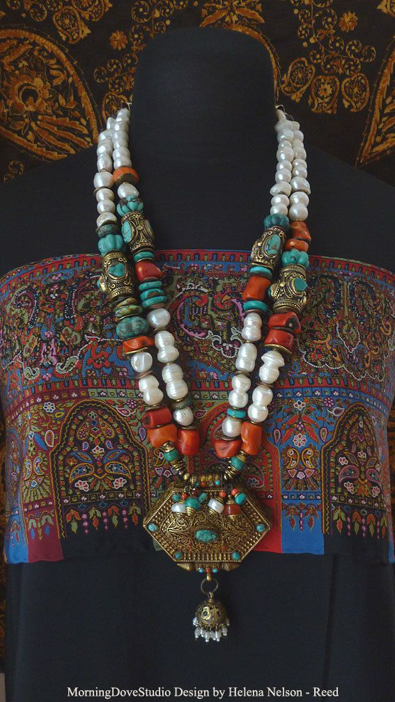 Empress of Tibet double strand tribal art by MorningDoveDesign, $645.00