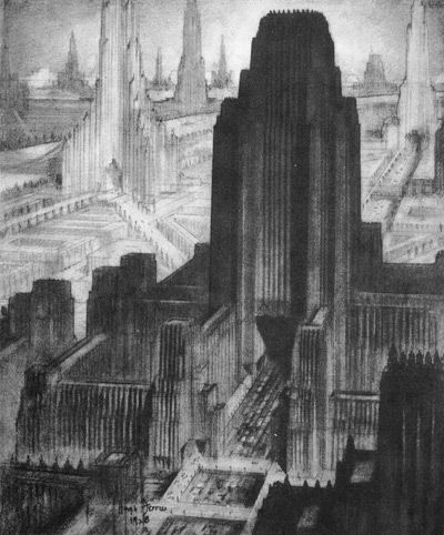 Hugh Ferriss. The Metropolis of Tomorrow. Looking West from the Business Center