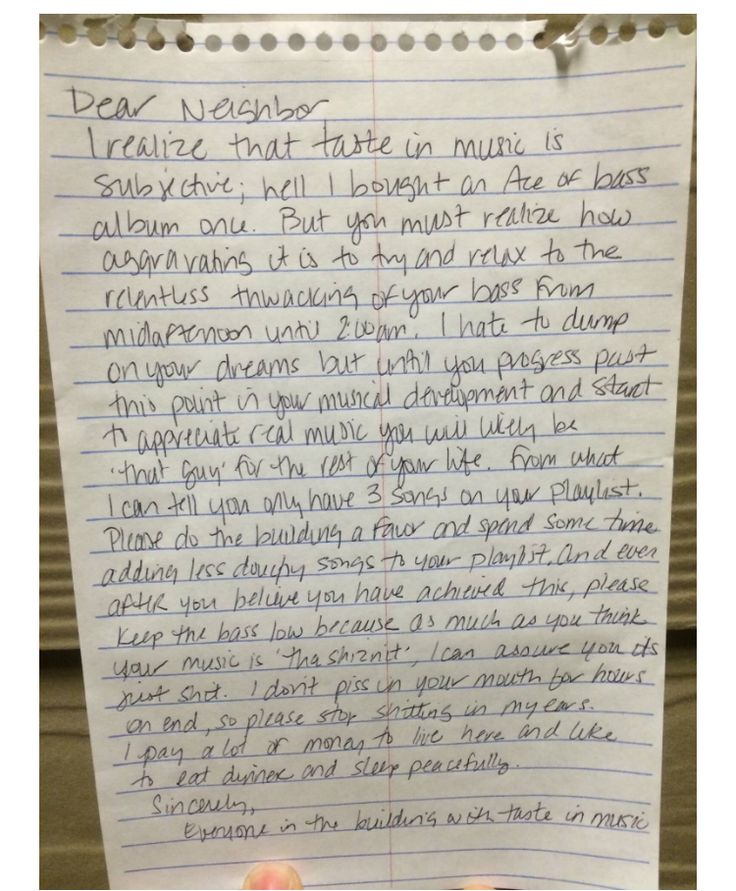 Funny Letter To Neighbor About Loud Music
