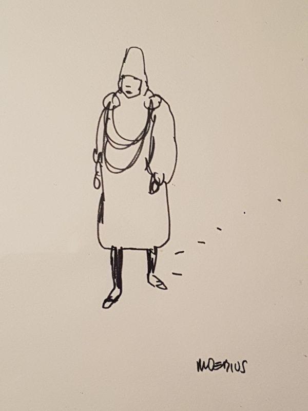 Homme Marchant Dans La Neige Dessin Original De Moebius Par