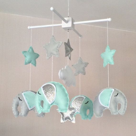 Baby Mobile - Elephant Mobile - Cot Mobile - Baby boy Mobile - Nursery Decor - Pastel Decor - grey, mint green and silver