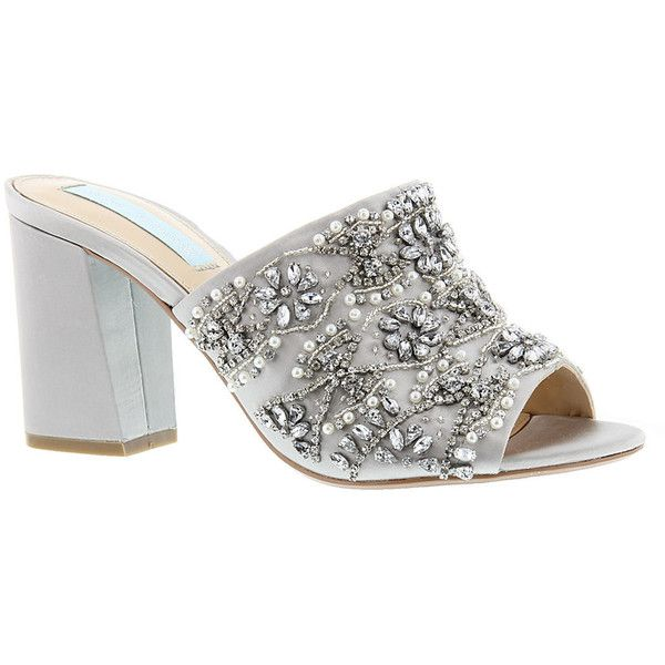 Blue by Betsey Johnson Jaxon Women's Silver Sandal 6.5 M ($130) ❤ liked on Polyvore featuring shoes, sandals, silver, silver bridal shoes, jeweled sandals, bridal shoes, high heel mule sandals and slip on mules
