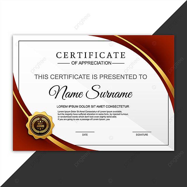 Beautiful Certificate Template Design With Best Award Symbol Vec Certificate Design Template Certificate Templates Template Design