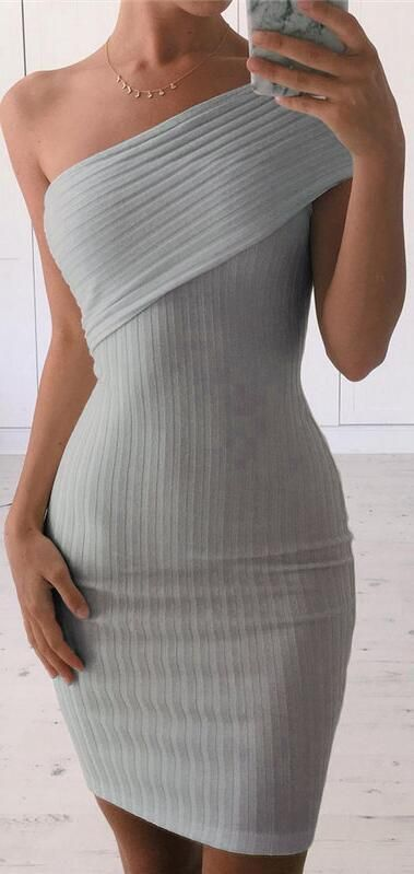 Sexy One Shoulder Bodycon Short Dress - Oh Yours Fashion - 2
