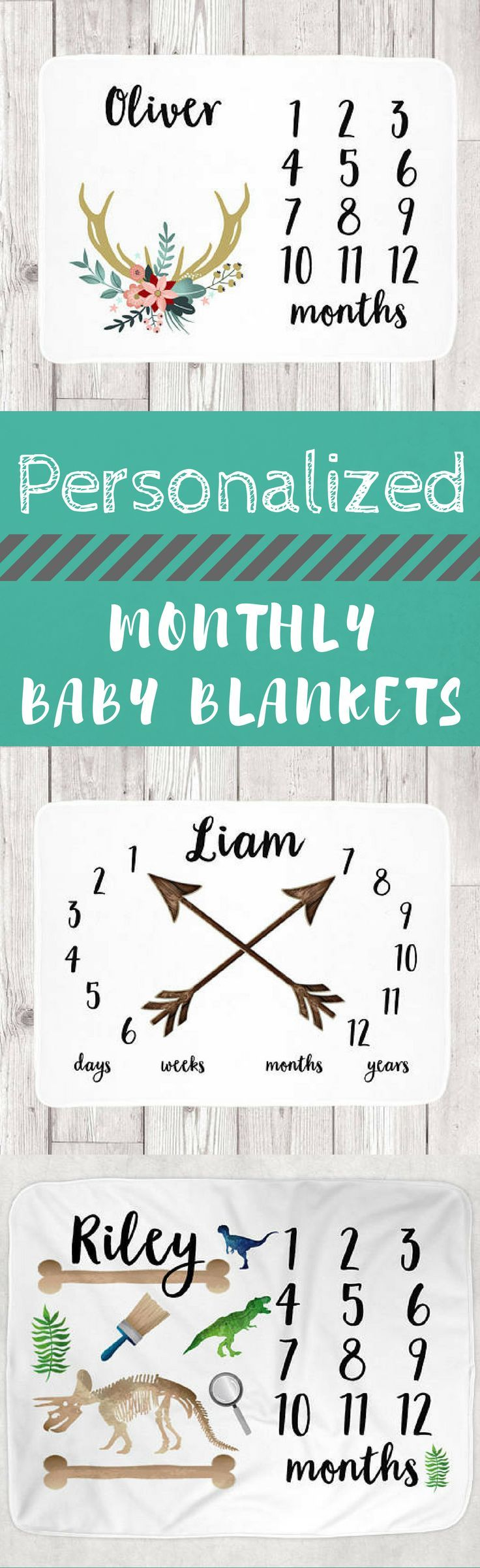 "Perfect baby shower gift! Monthly Baby Blanket - Months Blanket - Growth Blanket For Girl - Baby Blanket for Boy - Months Weeks Personalized - Baby Name 30""x40"" #baby #babyshower #babyblanket #babynursery #personalized #monogram #babyboy #babygirl #momlife #etsy #affiliate"
