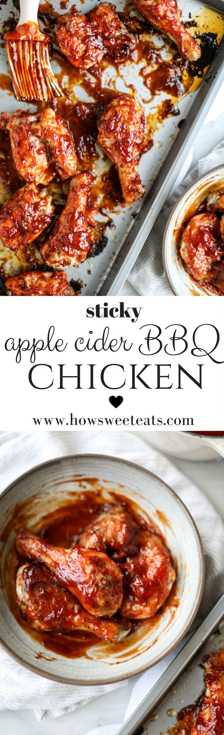 Sticky Apple Cider BBQ Chicken I howsweeteats.com @howsweeteats