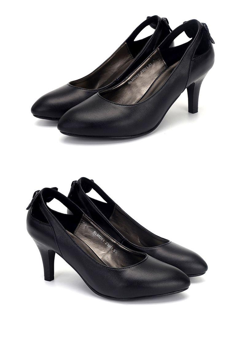 2016 осень корейской версии на высоких каблуках кожаные ботинки черные ботинки работы Мелкий рот обувь одного оккупационные элегантные ботинки платья - Taobao