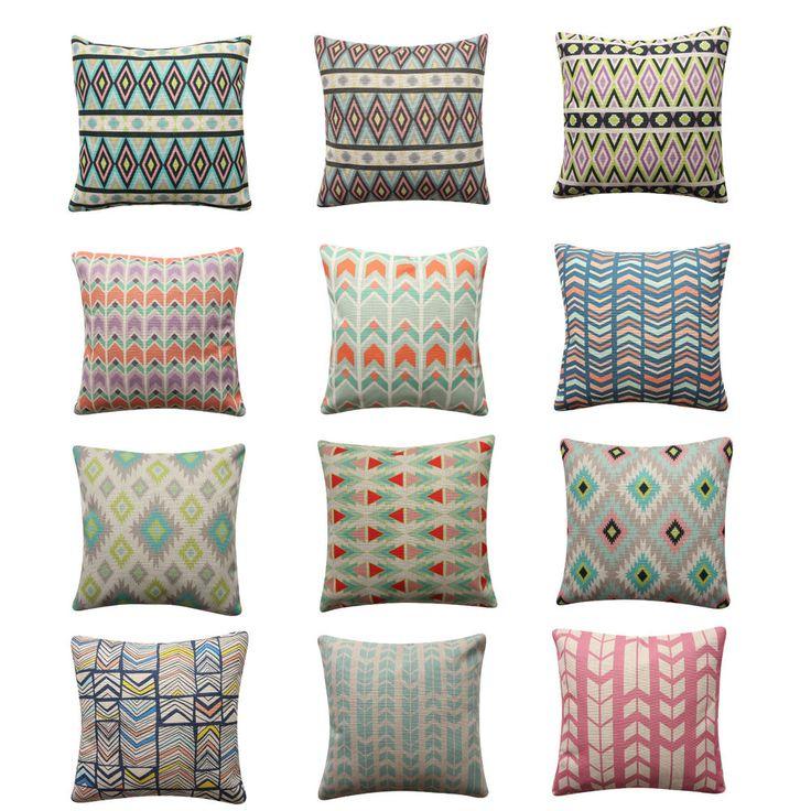 Tribal BOHO Arrows Cushion Cover Mint Pink Pillow Cover Geometric Cushion