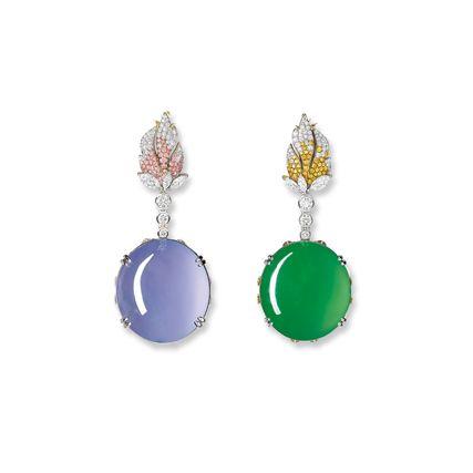 IMPRESSIVE PAIR OF JADEITE, ICY LAVENDER JADEITE, COLOURED DIAMOND AND DIAMOND PENDENT EARRINGS / RING / PENDENT NECKLACE, ALESSIO BOSCHI