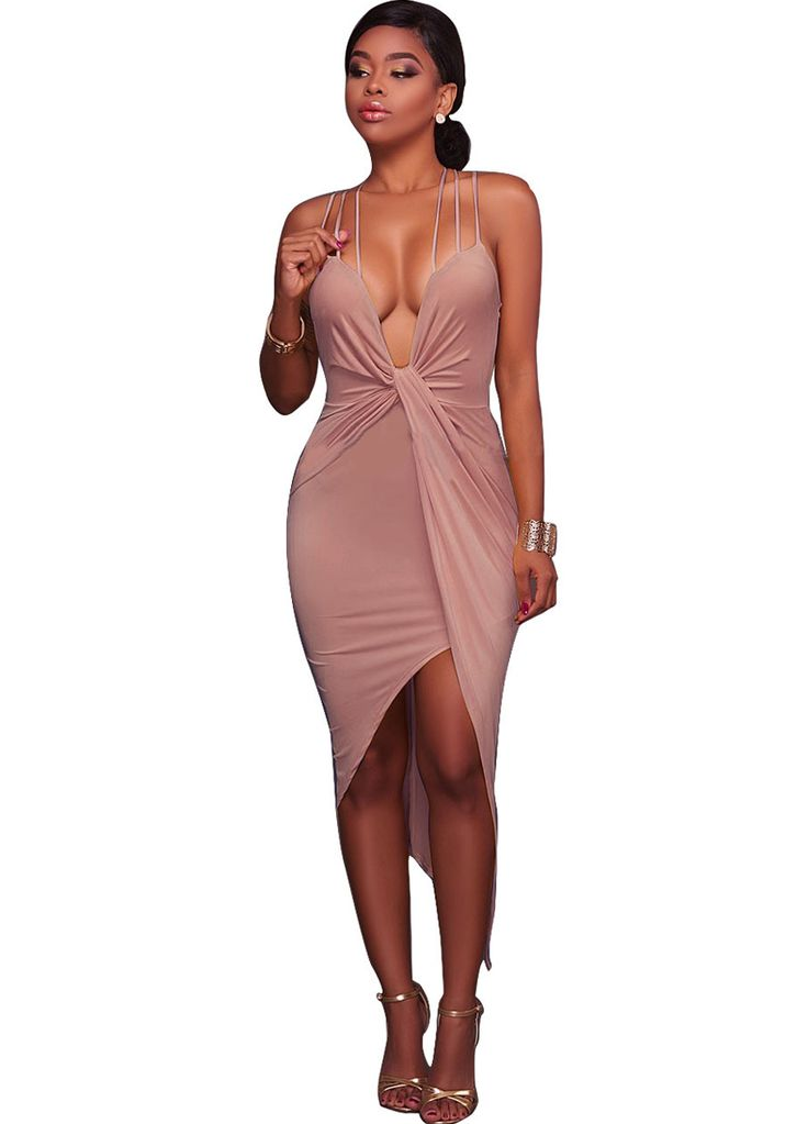 Adrienne Low Cut Draped Dress_Midi Dress_Dresses_Sexy Lingeire | Cheap Plus Size Lingerie At Wholesale Price | Feelovely.com