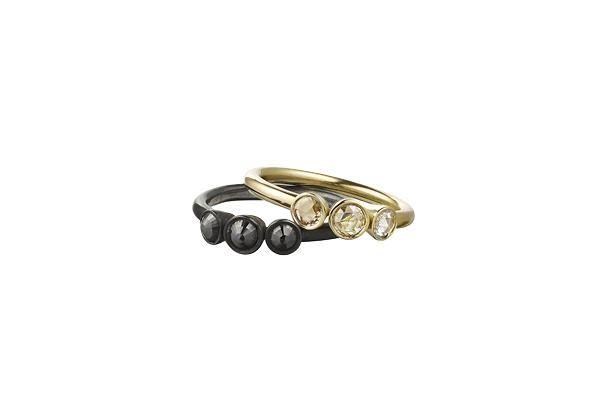 diamantringe med rosenslebet sorte og hvide diamanter